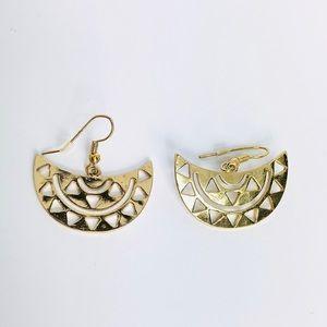 New! Vintage Bohemian Fan Drop Earrings Gold